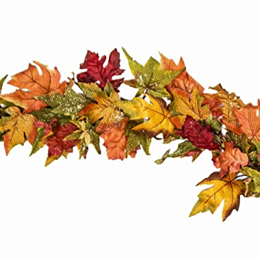 CraftMore Premium Maple Glitter Wired Garland, 68 Inches Long