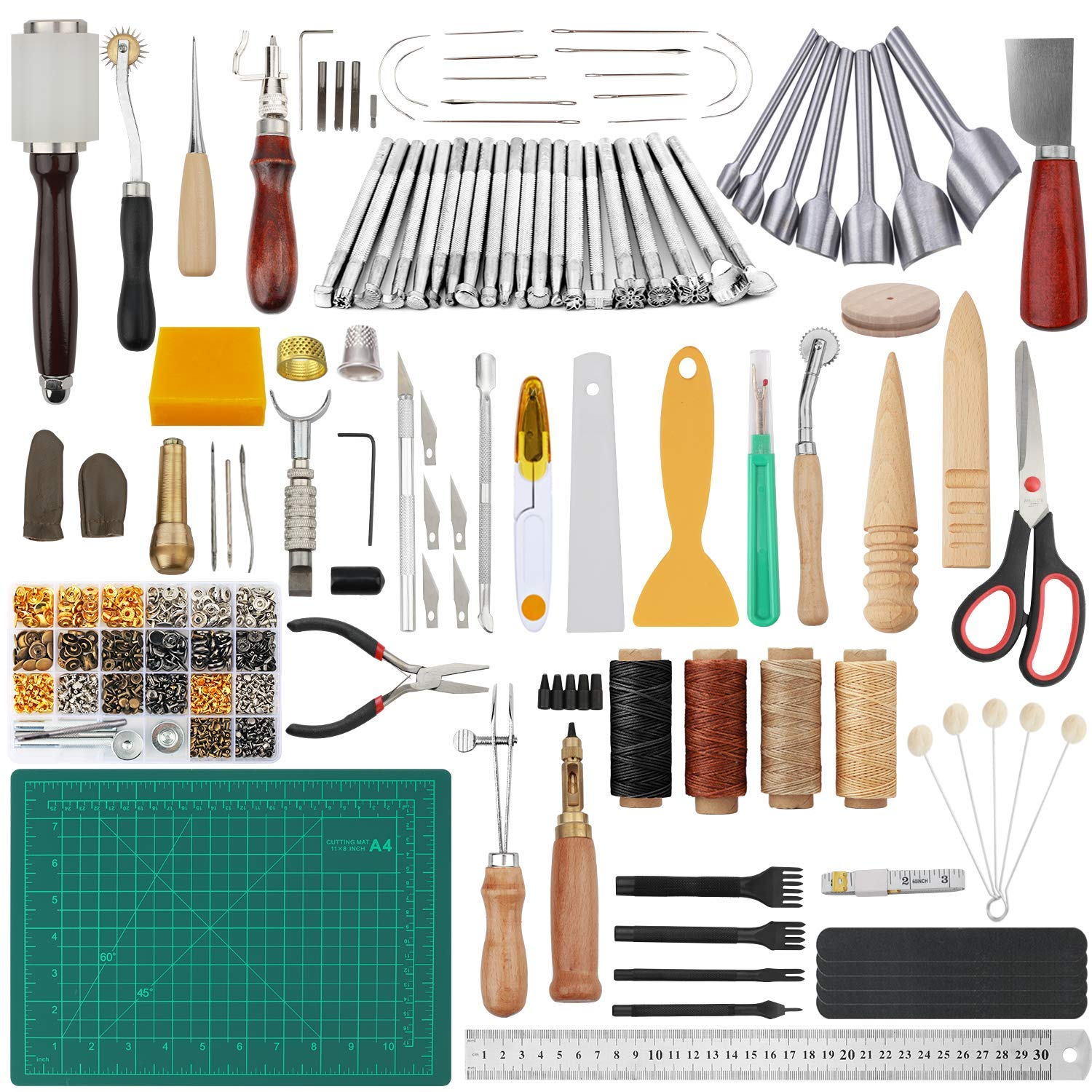 Dorhui 356 Pieces Leathercraft Tools Kit, Leather Working Tools and Supplies, Leather Craft Stamping Tools, Rivets Tools, Stitching Groover, Prong Punch, Leather Working Saddle Making Tools by Dorhui (Image #1)