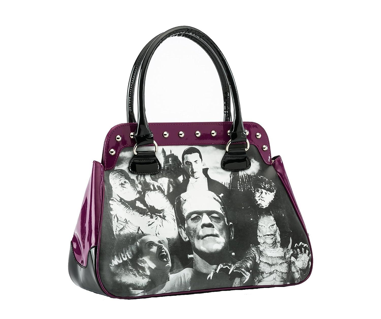 Rock Rebel Universal Monster Collage Bag in Orchid Purple