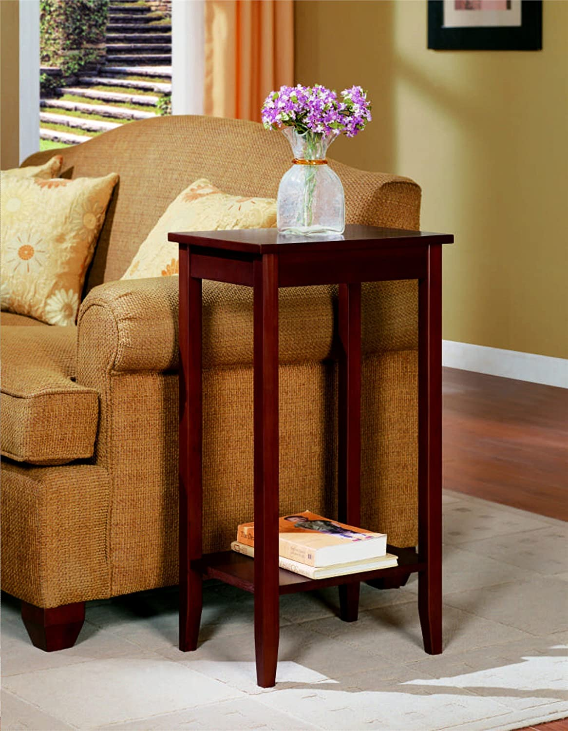 Amazon.com: DHP Rosewood Tall End Table, Simple Design, Multi Purpose,  Medium Coffee Brown: Kitchen U0026 Dining