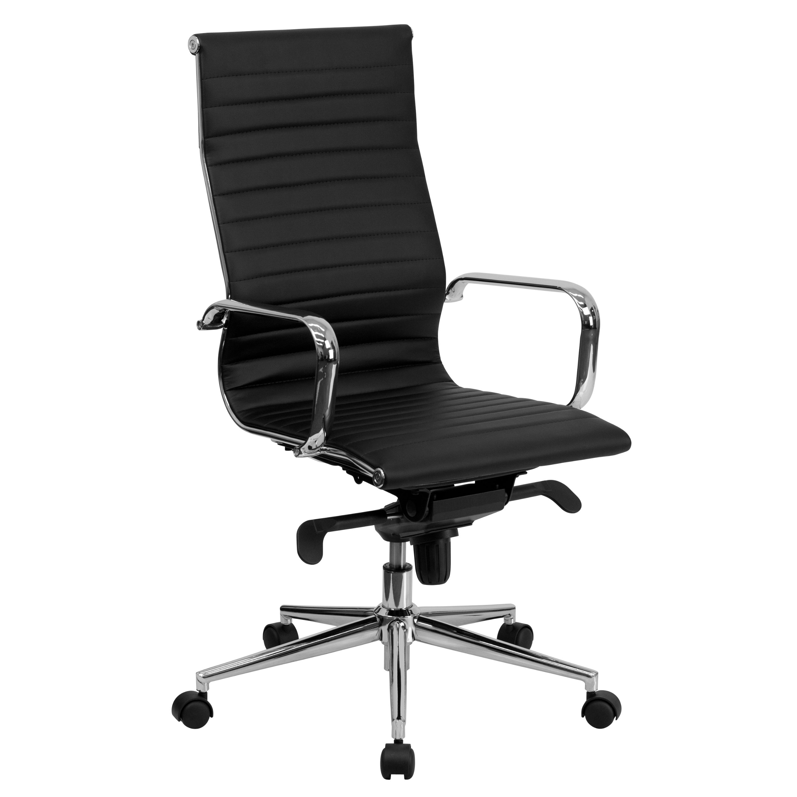 Flash Furniture High Back Black Ribbed Leather Executive Swivel Office Chair with Knee-Tilt Control and Arms by Flash Furniture