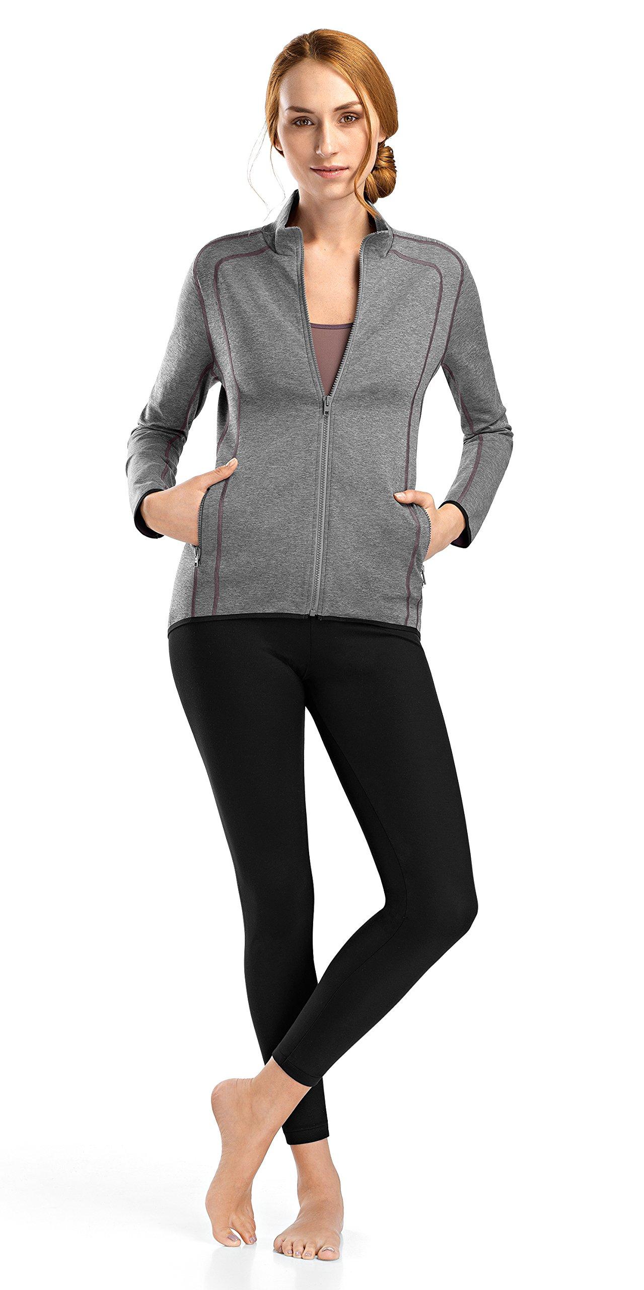 Hanro Women's Balance Zip Front Jacket, Carbon Melange, Large by HANRO