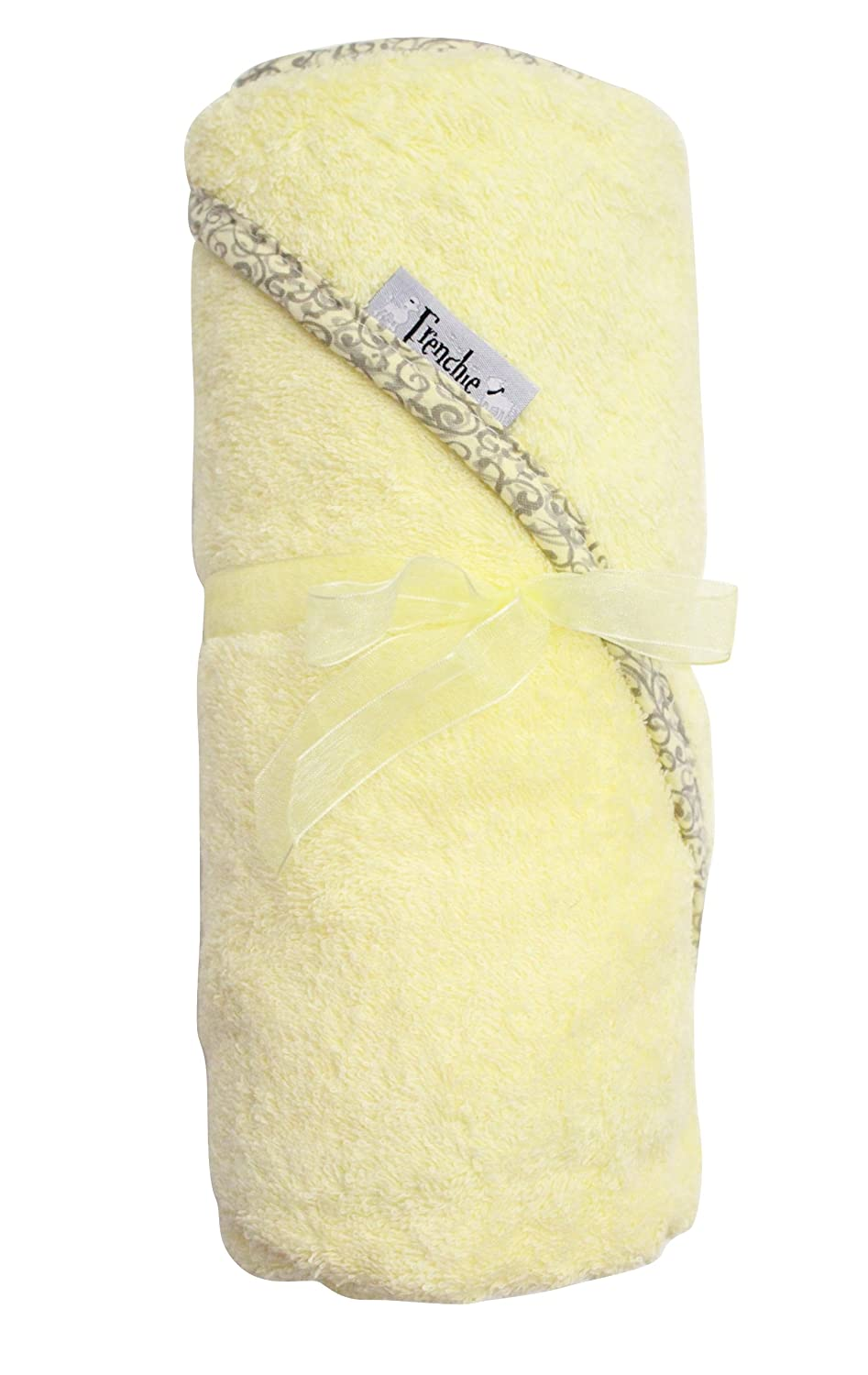 Extra Large 40x30 Absorbent Hooded Towel, Solid Yellow with Swirl Print, Frenchie Mini Couture BabyCenter 218