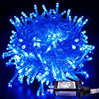 JMEXSUSS 33ft 100 LED Indoor String Lights Blue, Clear Wire Christmas Lights Outdoor Waterproof, 8 Modes Twinkle Fairy…