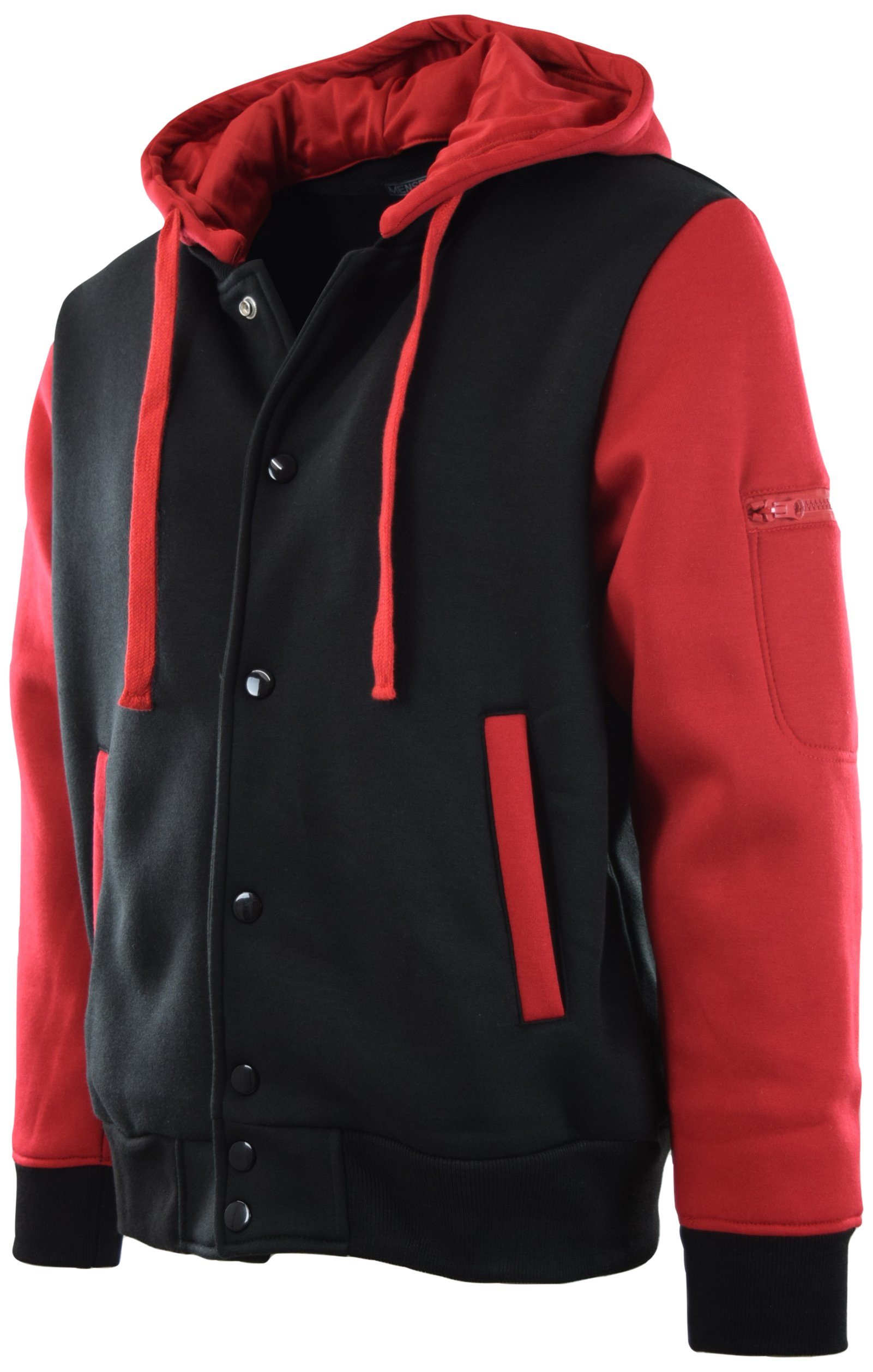 ChoiceApparel Mens Baseball Varsity Jacket with Detachable Hoodie (L, 901-Black/Red)