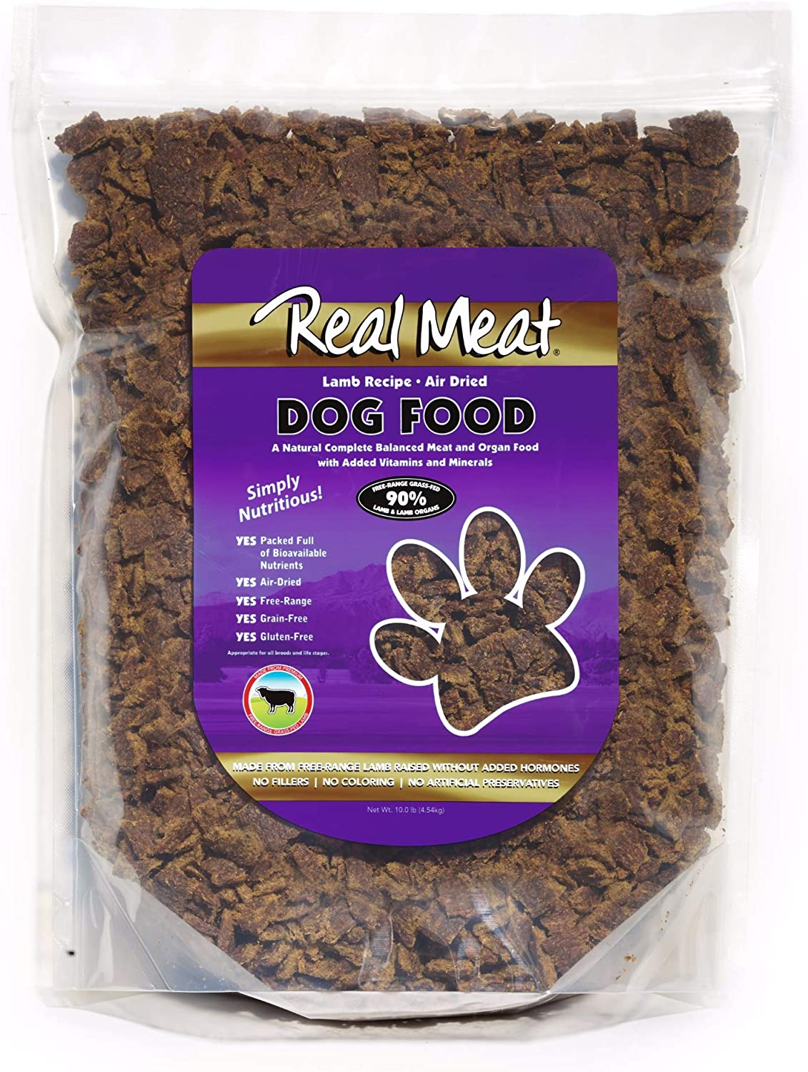 Real Meat Rmc70110 Air Dried Lamb Pet Treat, 10 Lb