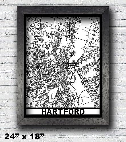 Amazon hartford connecticut laser cut map 3d street map hartford connecticut laser cut map 3d street map 24x18 map 18x14 map sciox Images