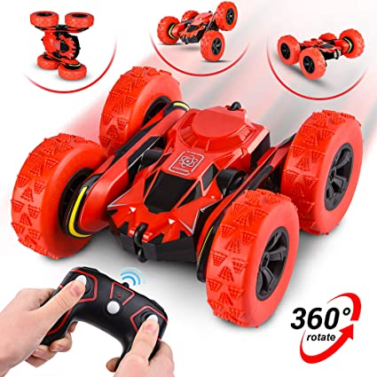 Remote Control Car - RC Stunt Car Toy and Monster Truck - 360 Degree Flip - Double Sided Race Car - 2.4 GHz RC 4WD Buggy - 12 km/hr Speed with 80 m Control Distance - (Improved)