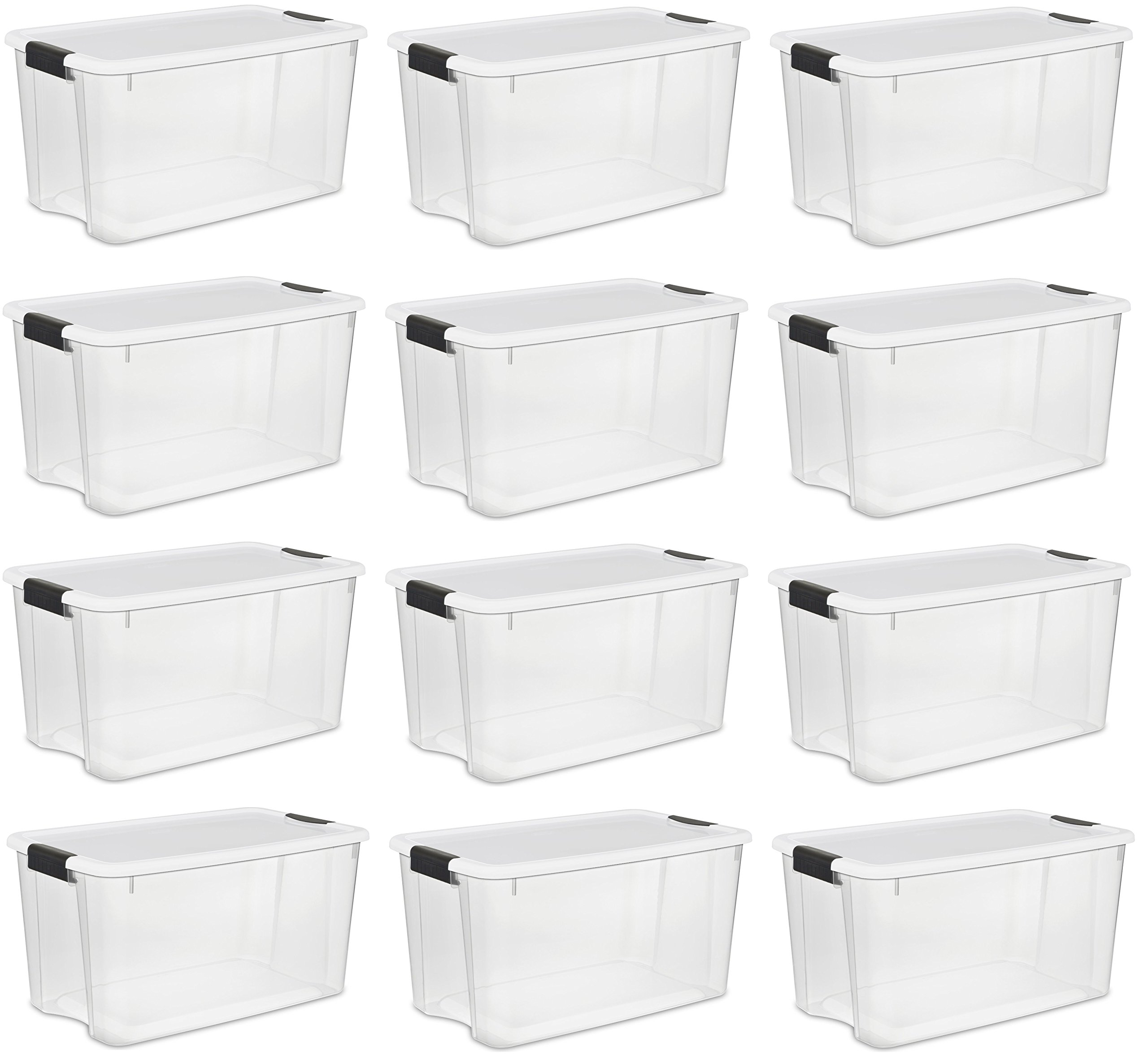 Sterilite, 30 Quart/28 Liter Ultra Latch Box, Clear with a White Lid and Black Latches, (12-Pack)