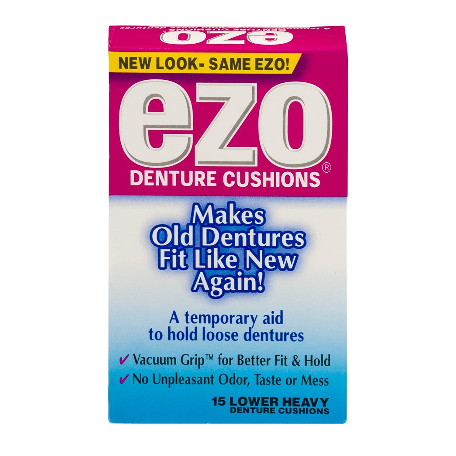 Ezo Denture Cushions, Lower Heavy - 15 ct, Pack of 4 MED TECH PRODUCTS