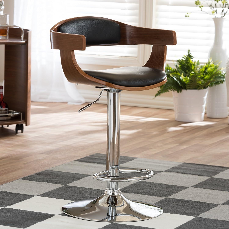 Amazon.com: Baxton Studio Garr Walnut Black Modern Bar Stool: Kitchen U0026  Dining
