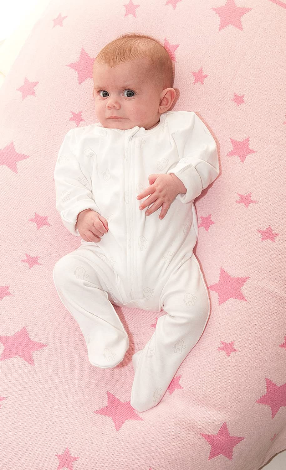 100/% Combed Cotton Knitted Perfect Gift Ziggle Baby Reversible Blanket in Pink Stars for Nursery Cot and Pram