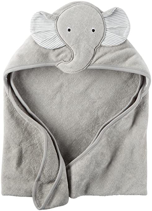 Carter's Hooded Bath Towel - Little Elephant - Grey