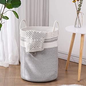 YOUDENOVA Woven Rope Laundry Hamper with Handles, Tall Laundry Basket for Blanket Storage, Heavy Duty Clothes Hamper for Bedroom-58L-Large-Grey