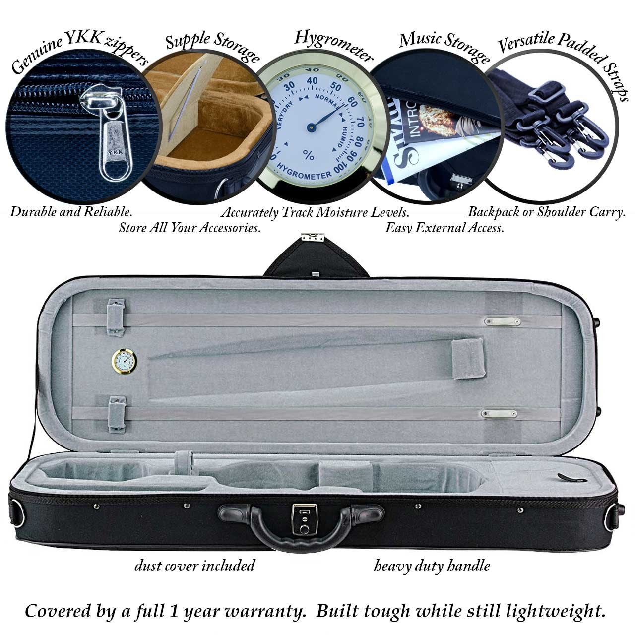 Portland Oblong Violin Case 4/4 Size Blue