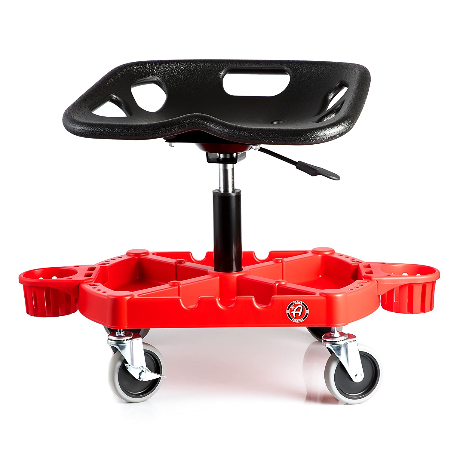 Adam's ProStool Detailing Creeper - Ergonomically Designed for Comfort and Functionality - Adjustable Height and Heavy Duty Rolling Wheels - Comfortably Detail or Paint Correct Any Vehicle Adam' s Polishes