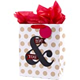 """Hallmark 13"""" Large Anniversary Gift Bag with Tissue Paper (You & Me, Polka Dots on White) for Anniversary, Valentines Day, Grooms Gift and More"""