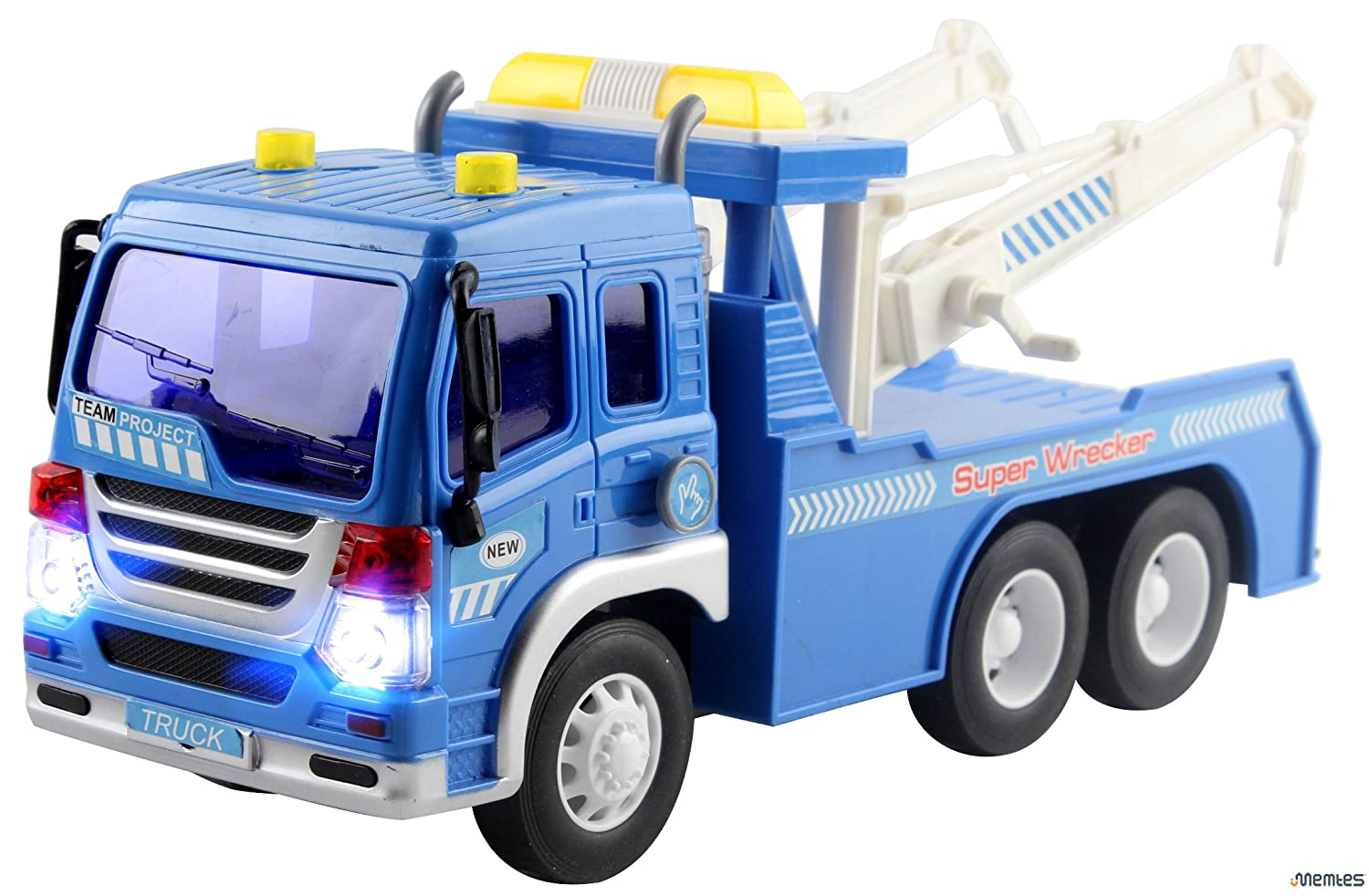 amazon com memtes friction powered wrecker tow truck toy with