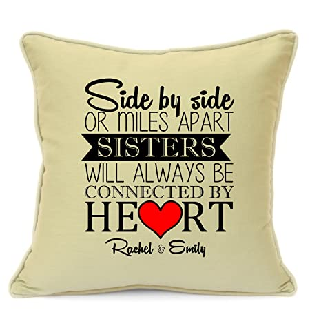 Personalised Cushion For Sisters Birthday Gift Mile Apart Always Together Infill INCLUDED Size 18 Inch 45 Cm Great Unique Idea Beige Amazoncouk
