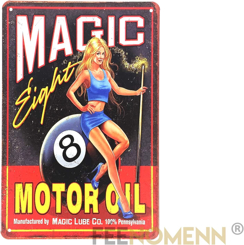 Motor Oil 20x30cm FEENOMENN Plaque M/étal D/éco Vintage Billard Magic 8 Pin Up