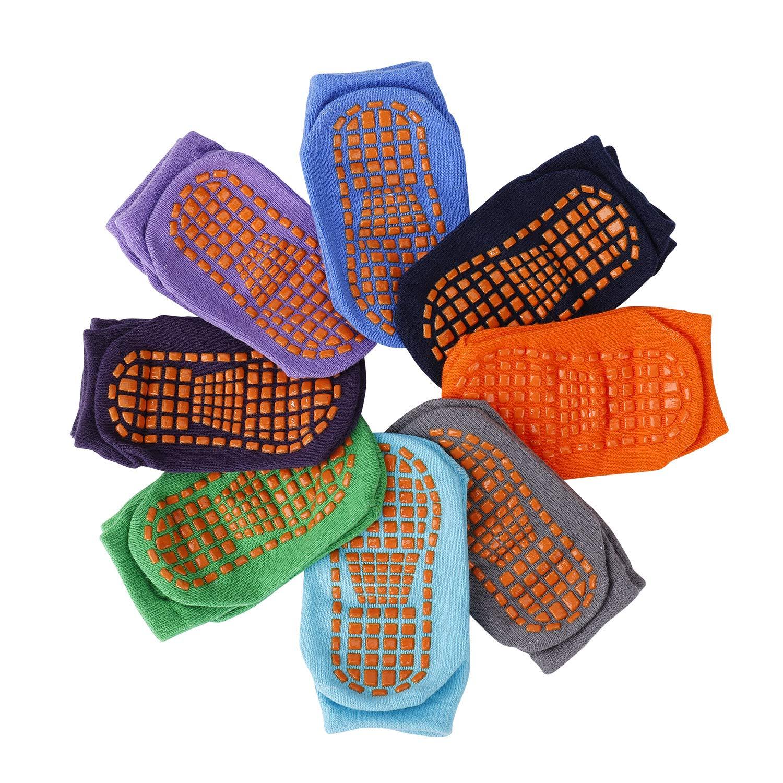 Calcetines Antideslizantes para Ni/ños Peque/ños Algod/ón Lindo con Pu/ños Calentar 8 Pares de Zapatillas Calcetines de Piso de Corte Bajo con Silicona para 1-3 a/ños de Beb/és y Ni/ñas