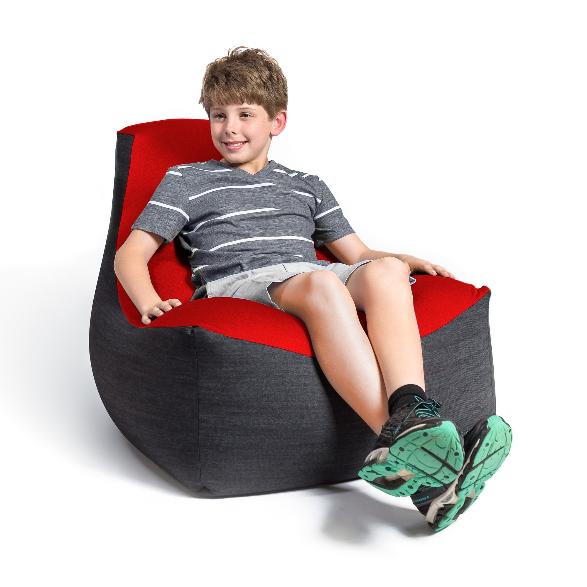 Jaxx Strato Spandex/Denim Bean Bag Chair for Teens, Cardinal