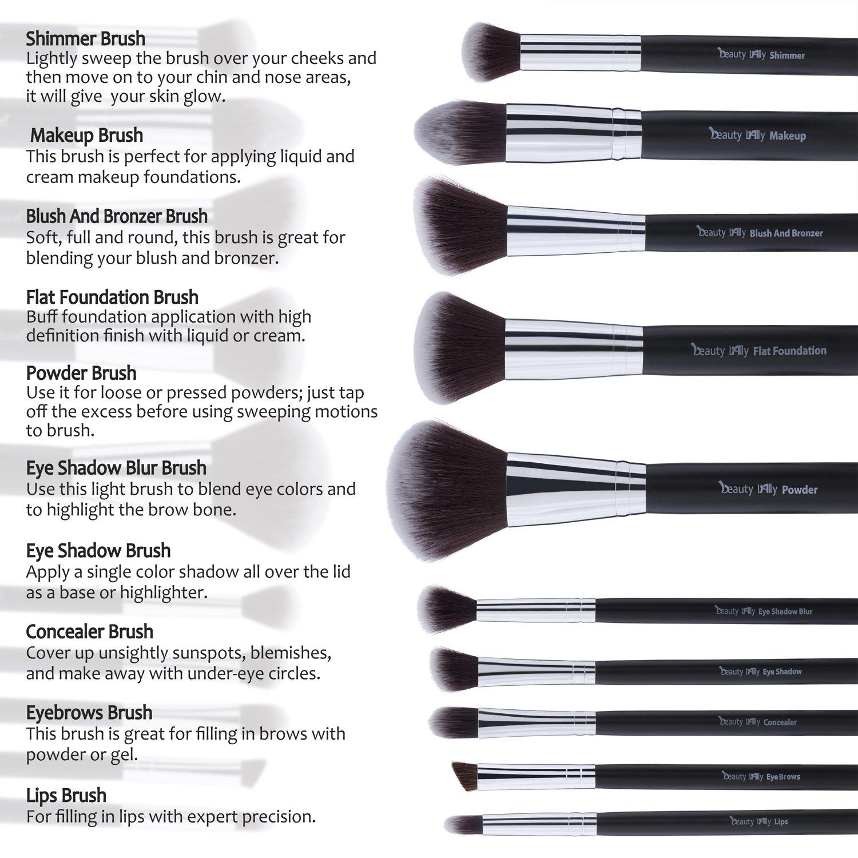 Amazon: Beauty Lally 10 Pcs Makeup Brush Setsoft, Silky Professional  Brushes, All Brushes
