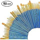 Zoiibuy 50 Set di pennelli per Pittura, Pennelli per Dipingere Arte per Principianti, Bambini, Artisti e Amanti della Pittura,Blu