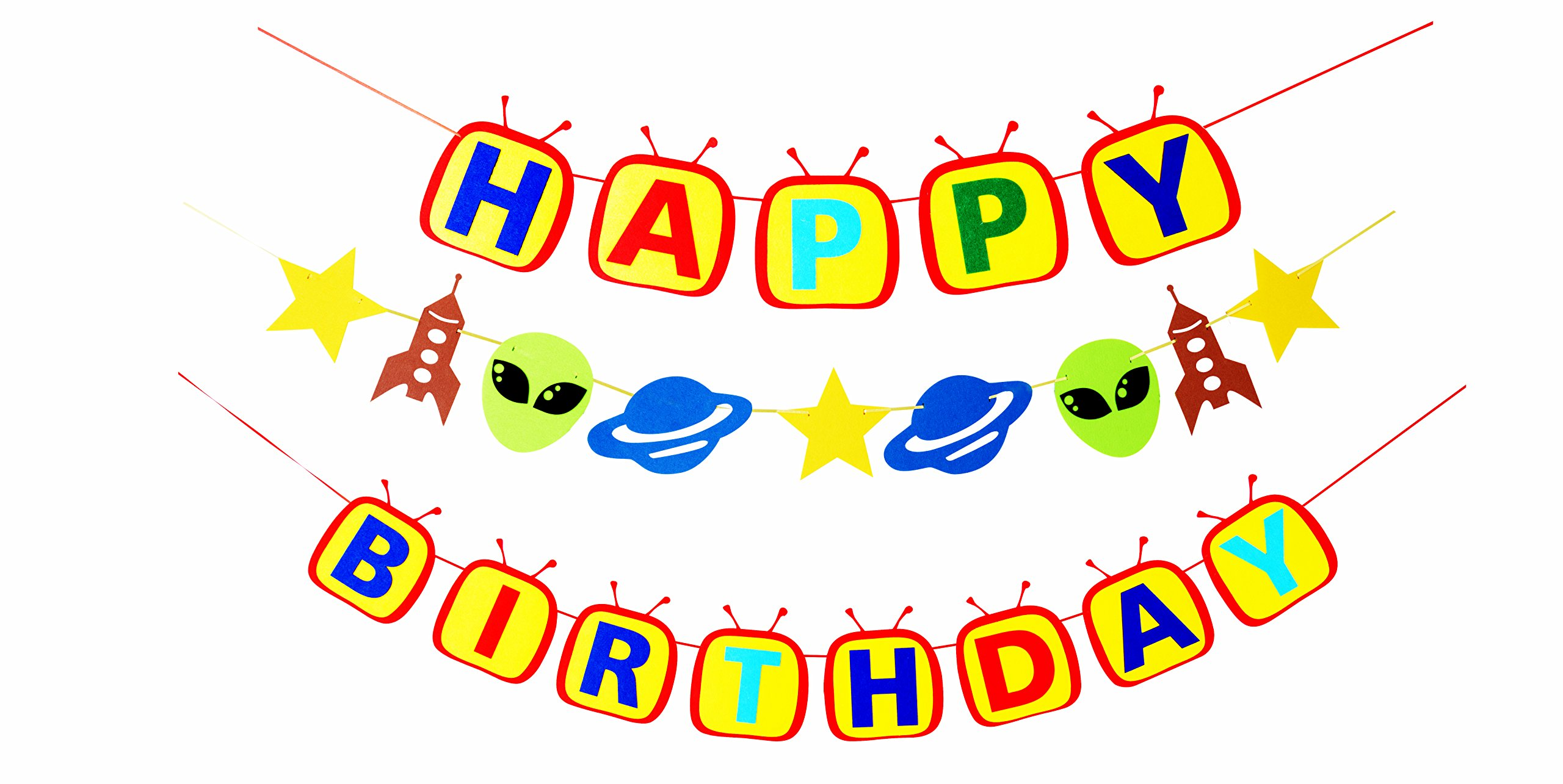 Outer Space Astronaut Party Supplies-1 Happy Birthday Banner, 1 Spaceship Rocket Shutter Alien Garland, Solar System Decorations and Favors for kids 1st 2nd 3rd 4th 5th 6th Bday Decor