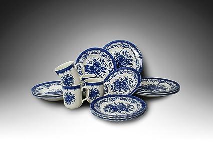 Tudor 16-Piece Porcelain Dinnerware Set Service for 4 - VICTORIA BLUE Special & Amazon.com | Tudor 16-Piece Porcelain Dinnerware Set Service for 4 ...