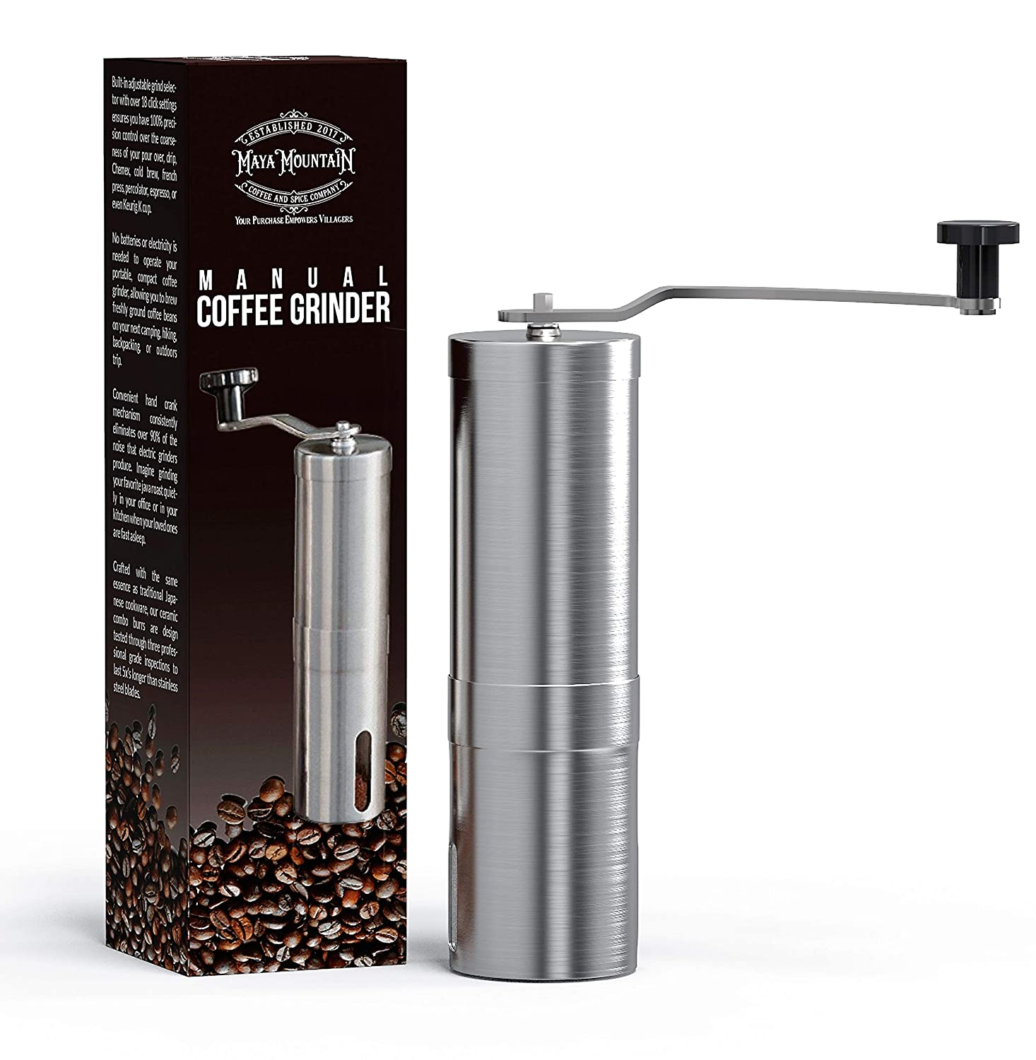 Drip Coffee by Maya Mountain Pour Over Manual Coffee Grinder Stainless-Steel Ceramic Burr Hand Crank Personal Coffee Grinder French Press Portable Adjustable Mill