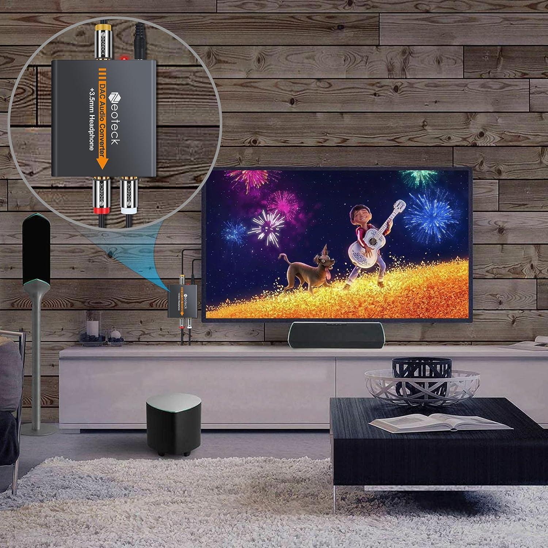 Neoteck Convertidor Digital a Analágico Óptico a RCA Coaxial Óptico Toslink Señal a Adaptador de Audio Analágico RCA Aleación de Aluminio Salida de Jack de 3,5 mm para HDTV Blu Ray DVD