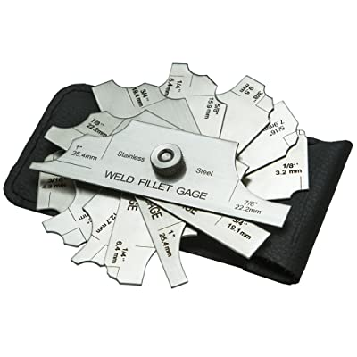 """ALLY Tools 7 Piece Fillet Welding Inspection Gauge Set INCLUDES Leather Case - (1/8\"""" - 1\"""") Ulnar Metric & Inch - Perfect for checking Leg Length and Throat Thickness for Professional Welders [5Bkhe1509396]"""