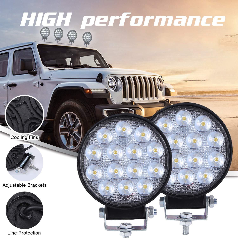 Amyove 4 Pulgadas Redondo Super Slim 140w proyector Llevado luz de Trabajo Luces de Niebla de conducci/ón 14000LM 2 PC