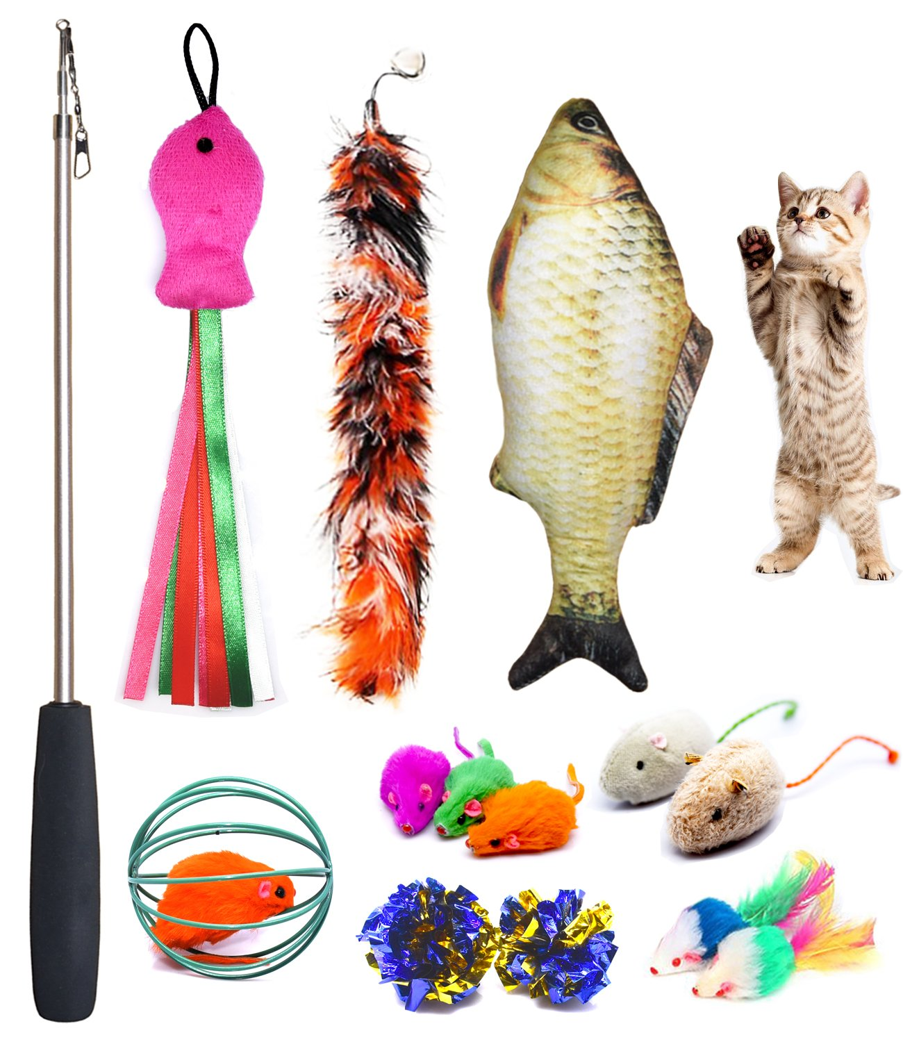 Cat Toys Set, Cat Retractable Teaser Wand, Catnip Fish, Interactive Cat Feather Toy, Mylar Crincle Balls, Two Cotton Mice, Two Fluffy Mouse, Pack of 11