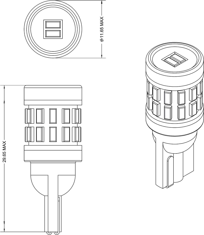 VLEDS 2pcs 240lm 5500K White 194 T10 2825 360/° High Output 26 LED Bulb