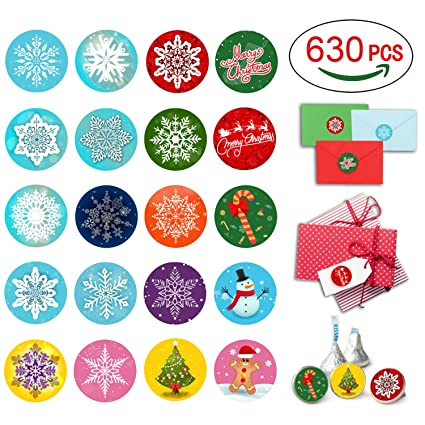 Cualfec christmas stickers roll winter holiday stickers 1 5 round 21 designs assortment 630 stickers