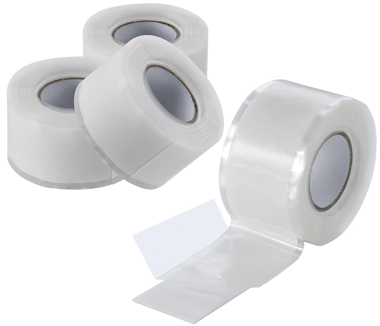 Poppstar Lot de 2bandes de silicone autosoudantes de 3m, bande de réparation en silicone, ruban isolant et étanche (hermétique à l'air et l'eau), largeur de 25mm, transparent largeur de 25mm
