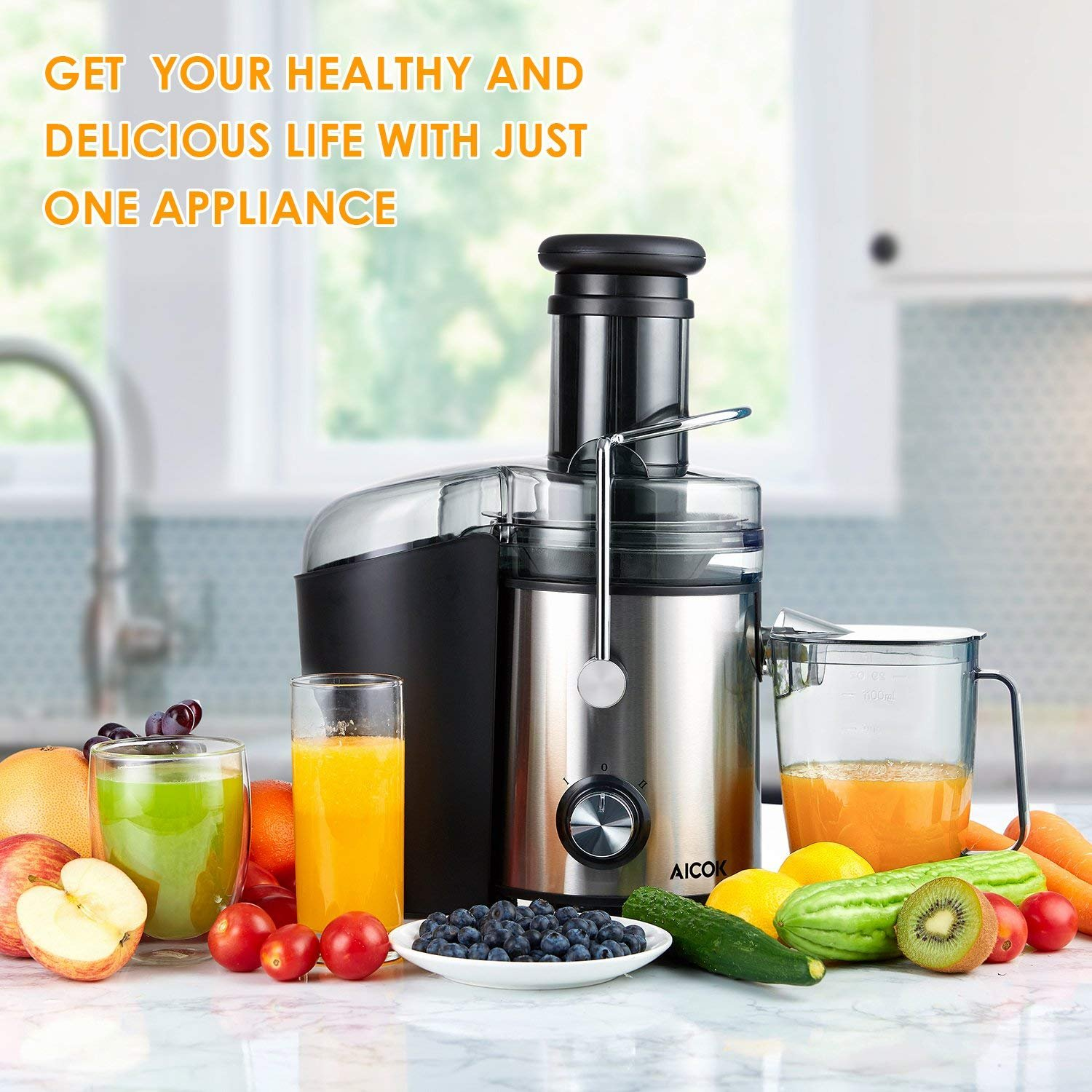 Juicer 1000W Powerful Juice Extractor, Aicok 76MM Wide Mouth Centrifugal Juicer Machine for Whole Fruit and Vegetable, Dual Speed Setting, Anti-drip Function, BPA Free by AICOK (Image #7)