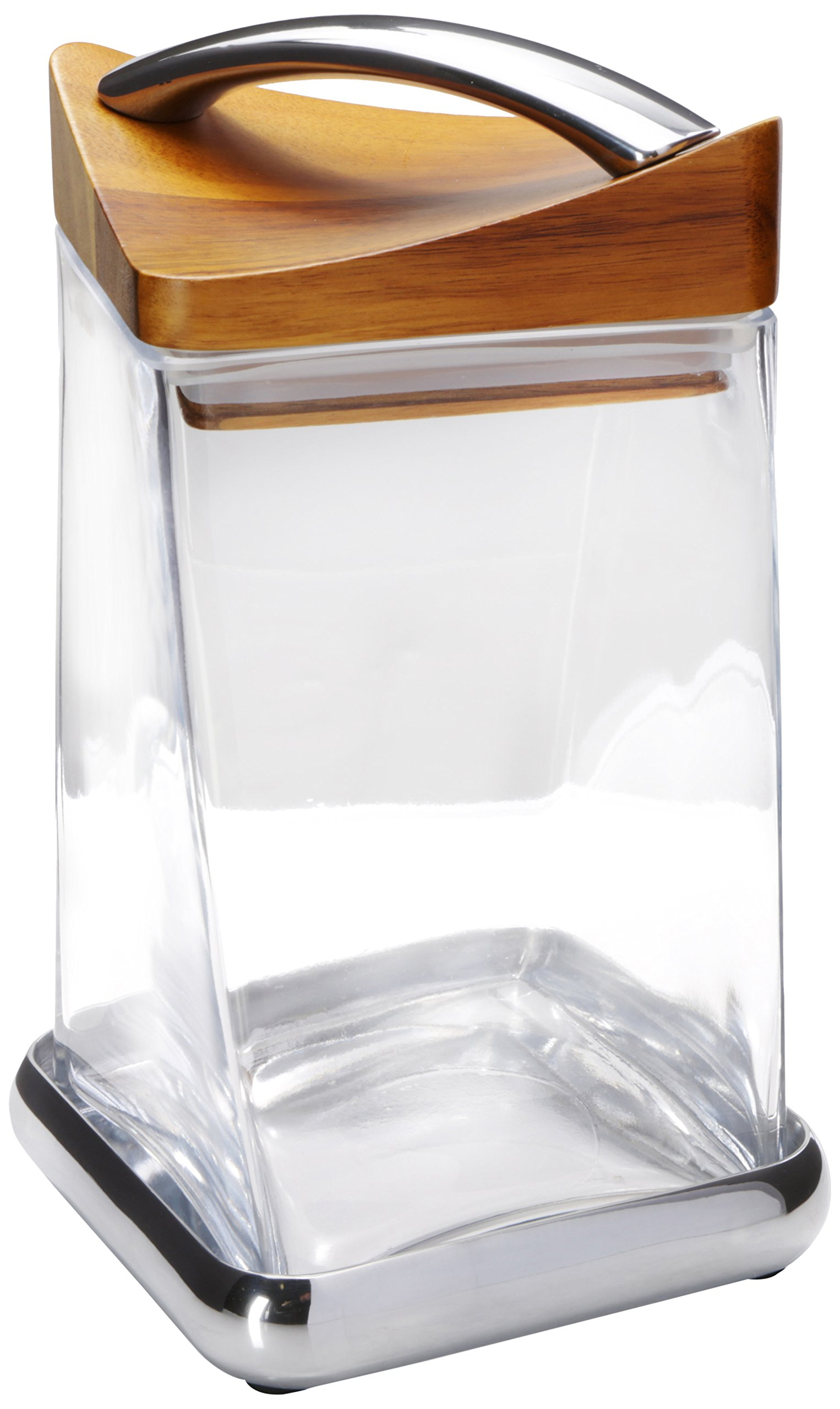 Nambe Twist Cannister, 8-Inch, Wood with Metal Alloy and Glass
