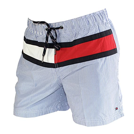 "3700a5e6be675 Tommy Hilfiger Stripe Swim Shorts, Silver Lake Medium - (32""-34"""