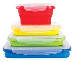 Thin Bins Collapsible Containers – Set of 4 Rectangle Silicone Food Storage Containers – BPA Free, Microwave, Dishwasher and Freezer Safe - No more cluttered container cabinet!
