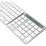 Cateck 2-in-1 Aluminum Bluetooth 28 Keys Wireless Magic Keypad & Calculator for Macs and PCs, Built in Dual Rechargeable Lithium Batteries