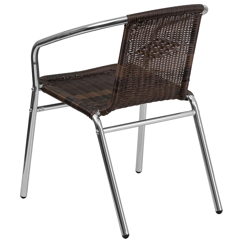 Flash Furniture Aluminum and Dark Brown Rattan Indoor ...