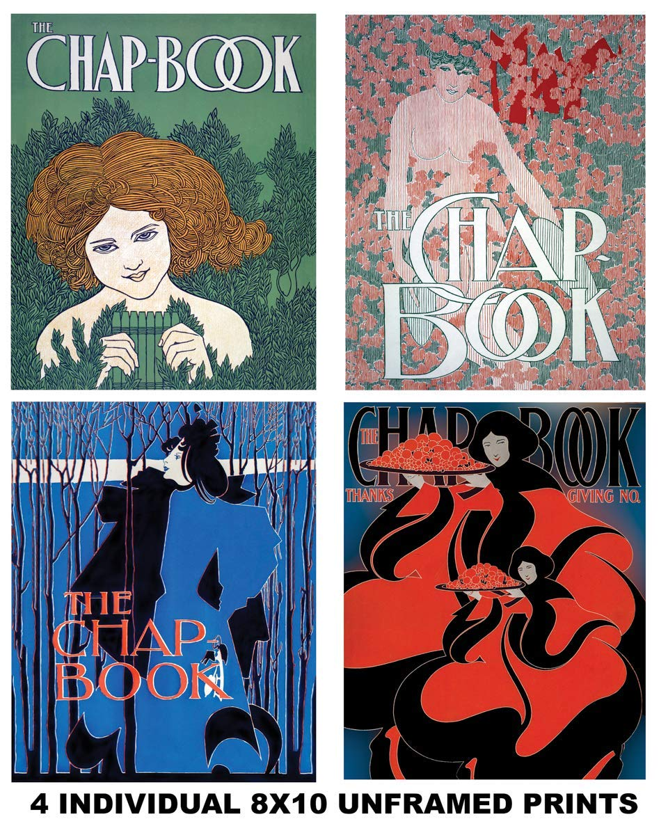 Four - Individual Restored Chapbook Art Prints - 8x10 Unframed Photo Prints - Fun Gift For Your Favorite Poetry Lover. Will Look Great in a Bedroom, Dorm, Living Room - Limited Time Intro Pricing