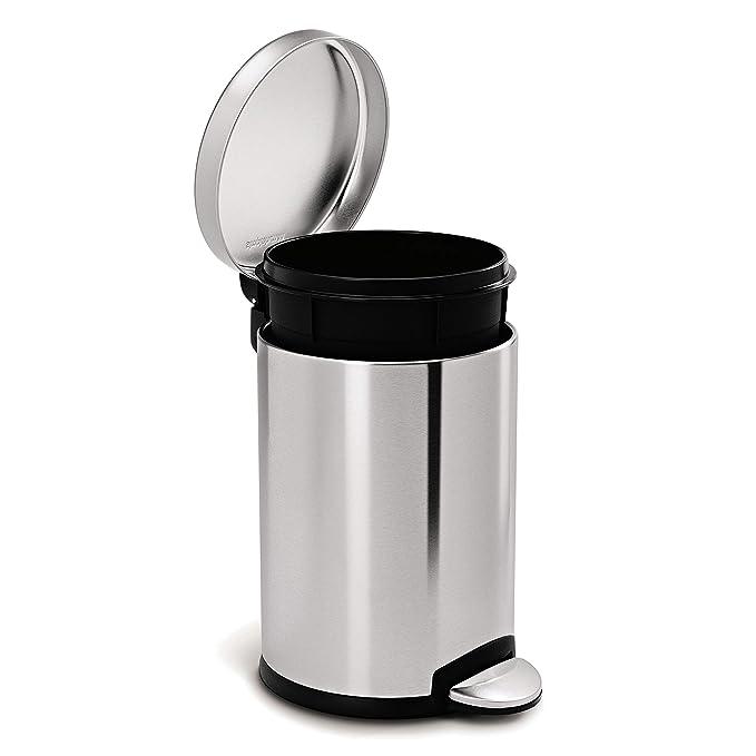 Amazon.com: Bote de basura Ronda Step, 1.2 galones, Acero ...