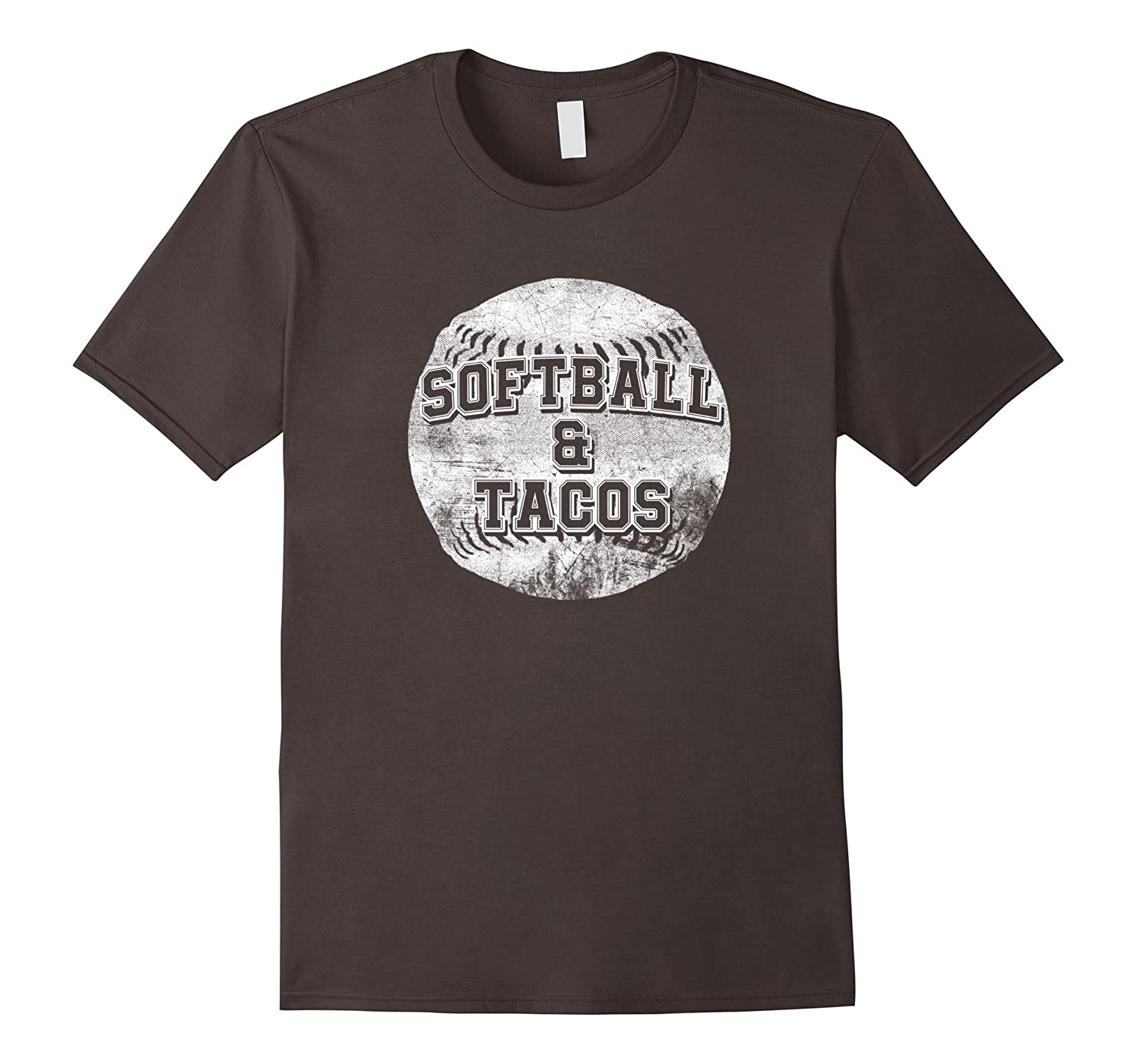 """""""Softball and Tacos"""" Funny Gift Distressed Graphic T Shirt"""