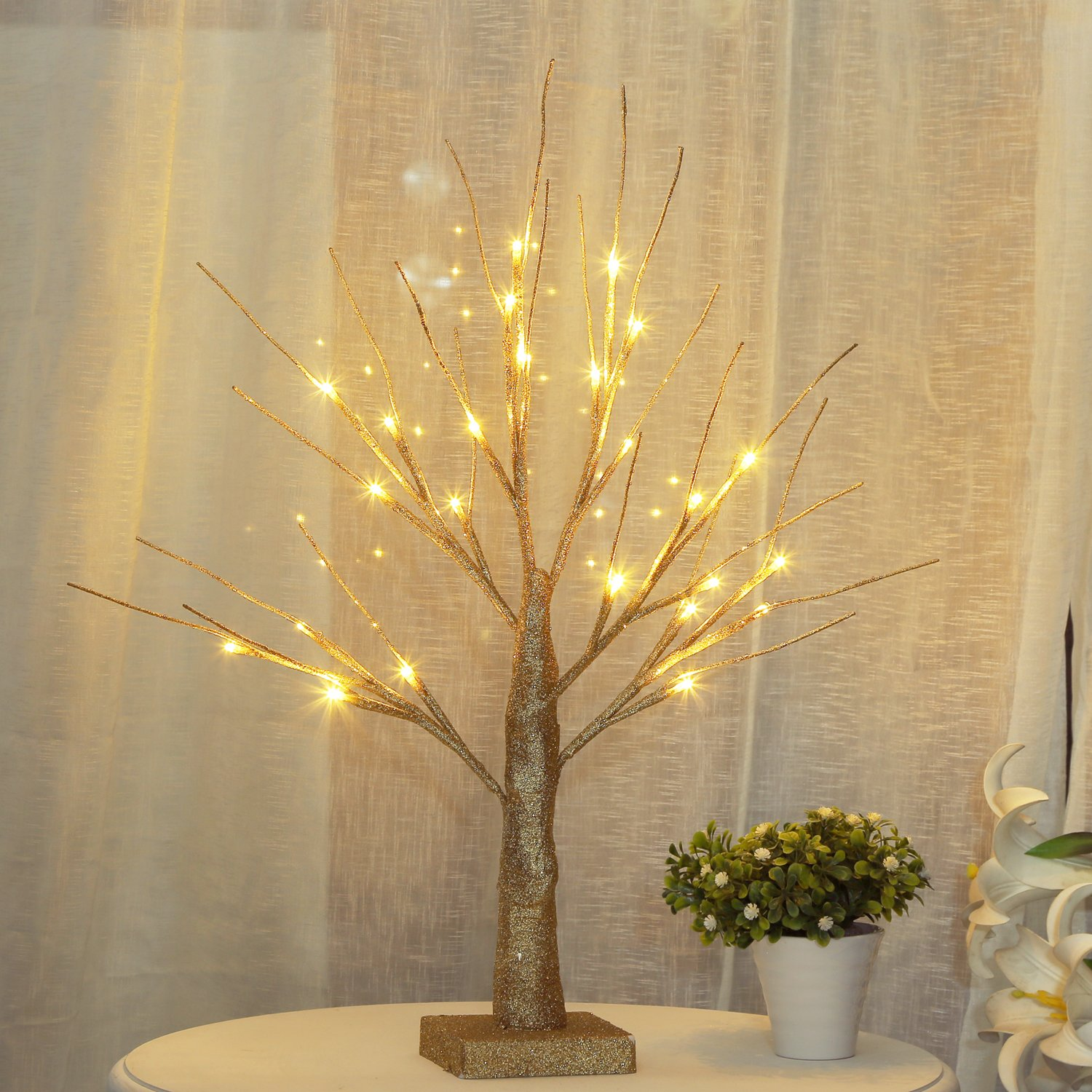 Bolylight LED Bling Bling Birch Night Light Table Tree Lamp Jewelry Holder Centerpiece 17.71 inch 24L Great Decoration Home/Christmas/Party/Festival/Wedding, Warm White, Gold