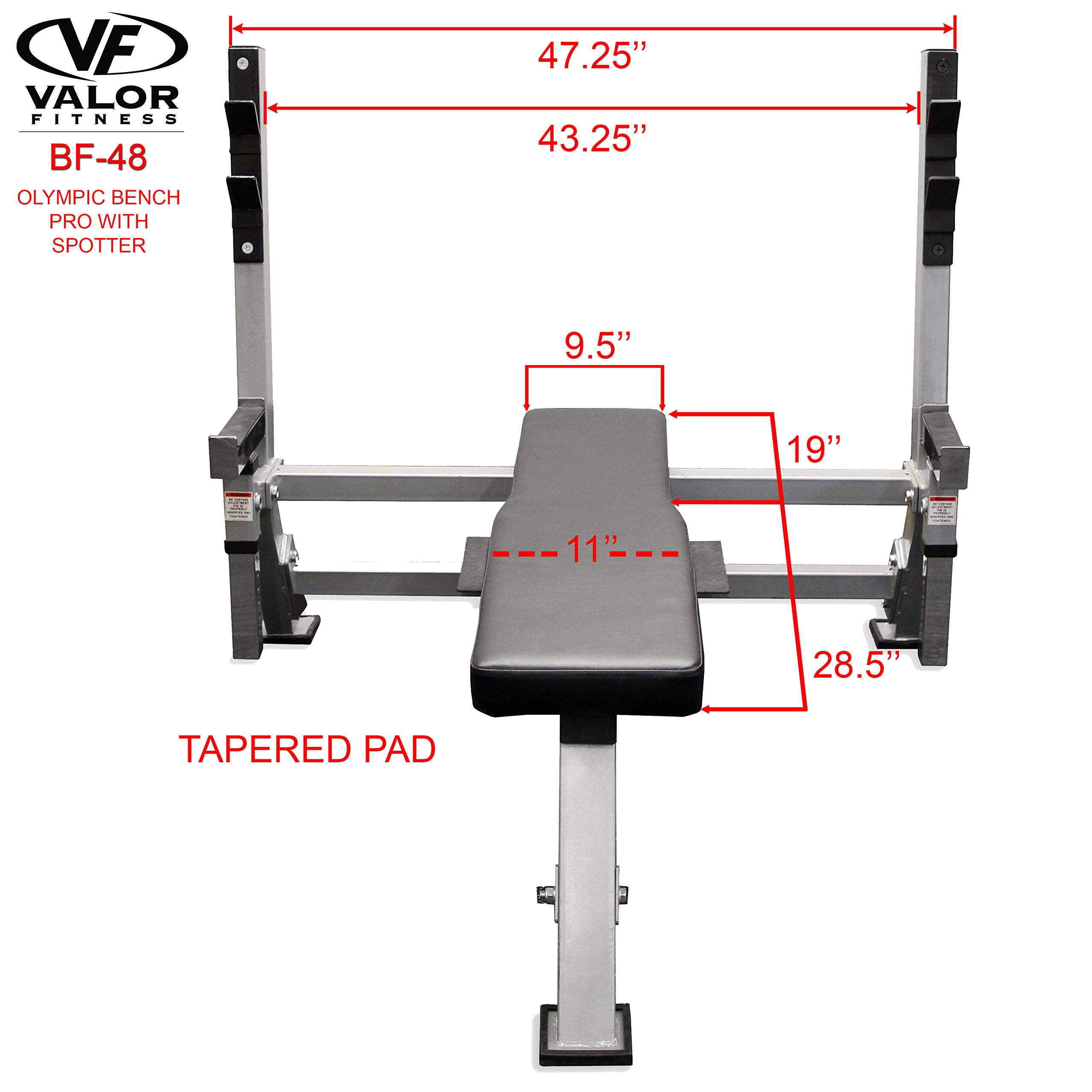 Valor Fitness BF-48 Olympic Bench Pro with Spotter by Valor Fitness (Image #8)
