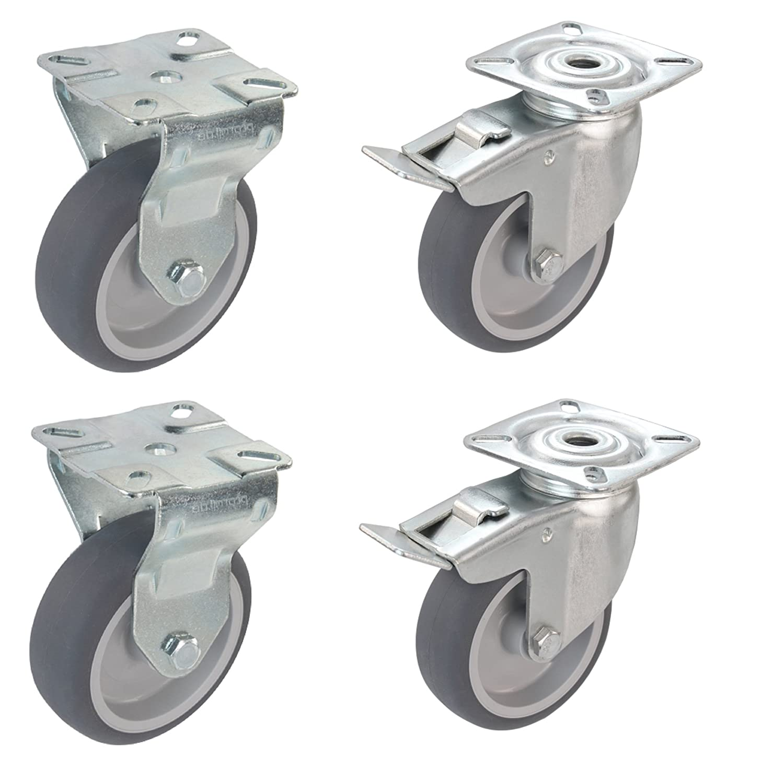 Apparaterolle Lenkrolle mit Bremse 50 mm ohne Feststeller Gummi grau-spurlos Anschraubplatte M/öbelrolle Transportrolle